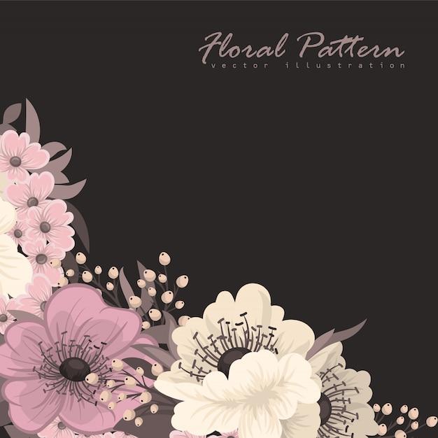 Blumenrahmen mit bunter blume. Premium Vektoren