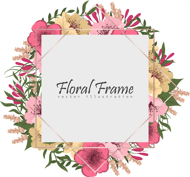 Blumenrahmen mit bunter blume. Kostenlosen Vektoren
