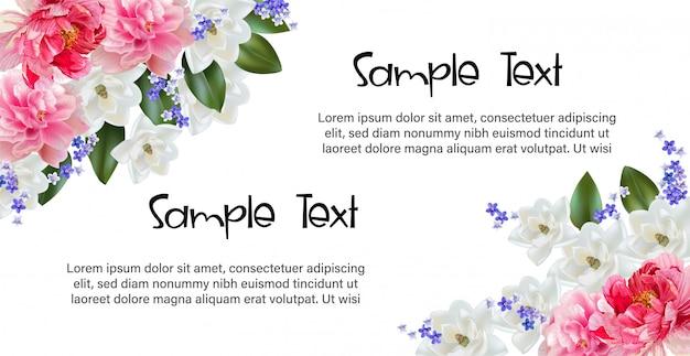 Blumenrahmen mit kirschblüte für gruß- und einladungskarte Premium Vektoren