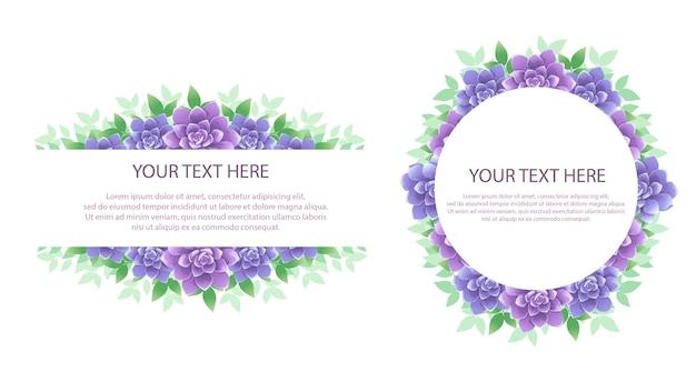 Blumenrahmen mit text Premium Vektoren