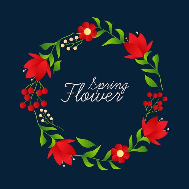 Blumenrahmen mit vintage-design Premium Vektoren