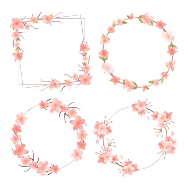 Blumenrahmen-sammlung Kostenlosen Vektoren