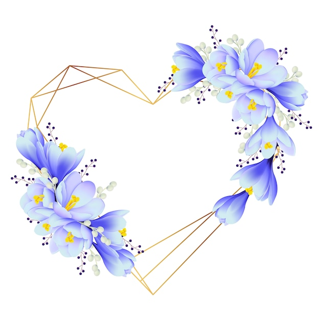 Blumenrahmenhintergrund mit krokusblumen Premium Vektoren