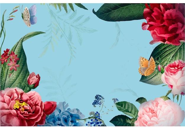 Blumenrahmenkarten-designillustration Kostenlosen Vektoren