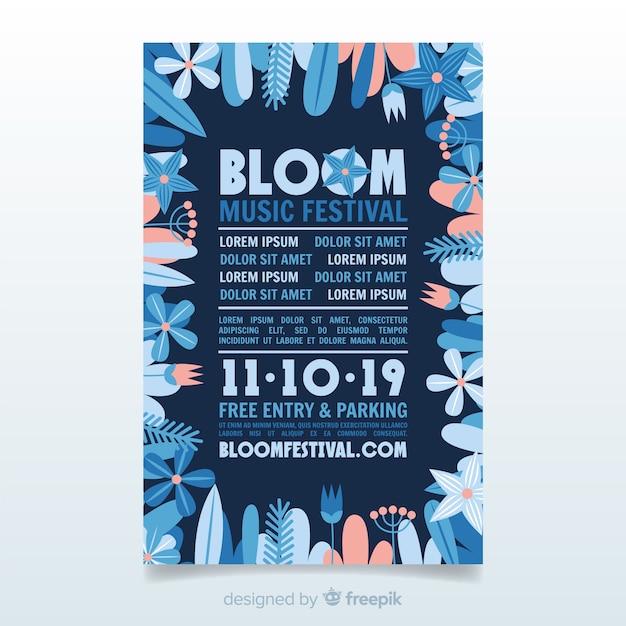 Blumenrahmenmusik-festivalplakat Kostenlosen Vektoren