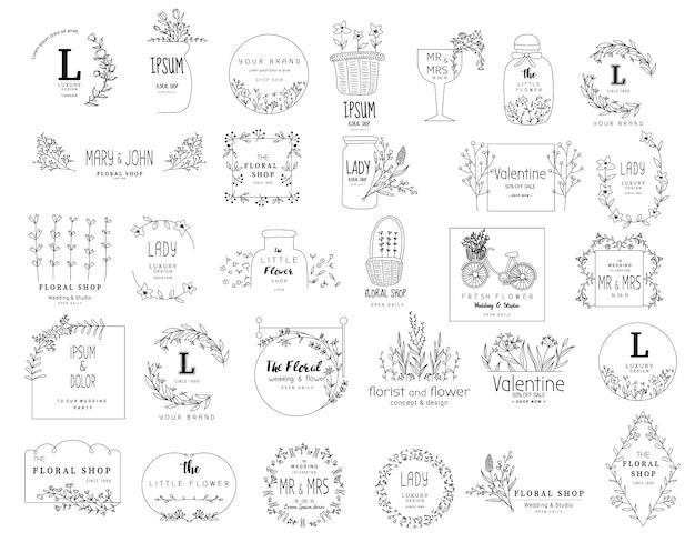 Blumenrahmensatz für die heirat, blumenladen, hand gezeichnete art Premium Vektoren