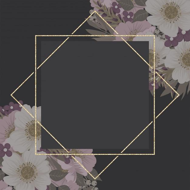 Blumenrand, goldene rahmenschablone Kostenlosen Vektoren