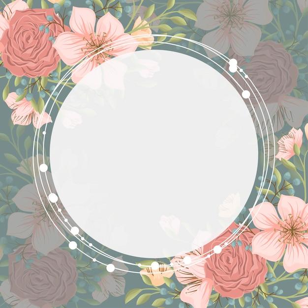 Blumenrandhintergrund - rosa blumenkranz Kostenlosen Vektoren