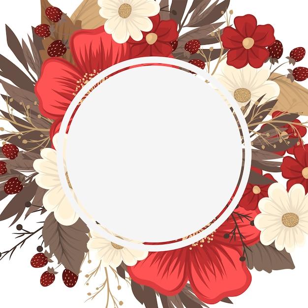 Blumenrandzeichnung - roter rahmen Kostenlosen Vektoren