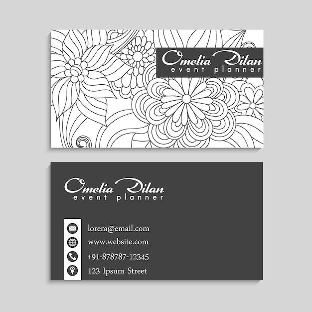 Blumenrandzeichnung weiß und schwarz Kostenlosen Vektoren