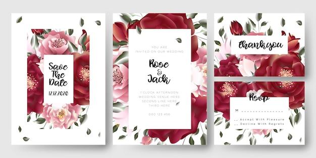 Blumenrosen-hochzeits-abwehr die datums-einladungskarten Premium Vektoren