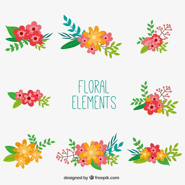 Blumenschmuck elemente Kostenlosen Vektoren