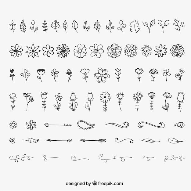 Blumenschmuck und schmuck Kostenlosen Vektoren