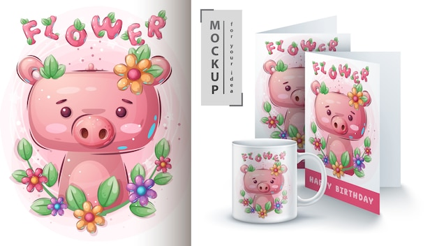 Blumenschwein für plakat und merchandising Premium Vektoren