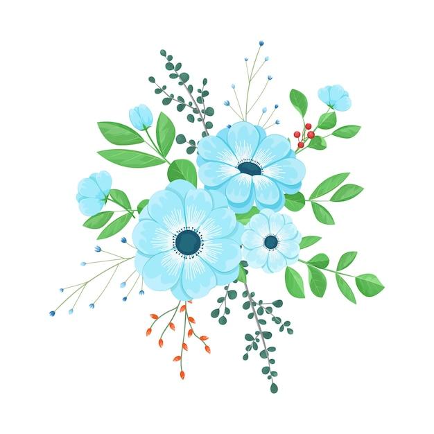 9aa3bf12666370 Blumenstrauß aus blauen blumen | Download der Premium Vektor