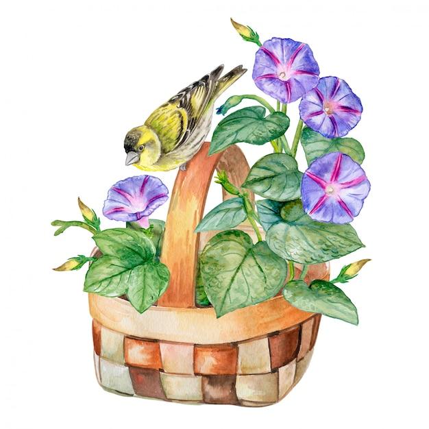 Blumenstrauß in einem korb Premium Vektoren