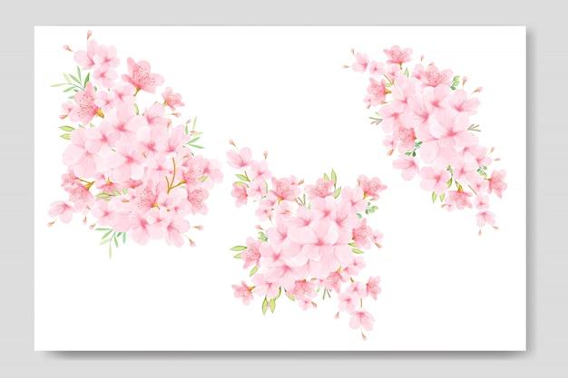 Blumenstrauß kirschblüte Premium Vektoren
