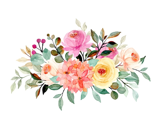 Blumenstrauß mit aquarell Premium Vektoren