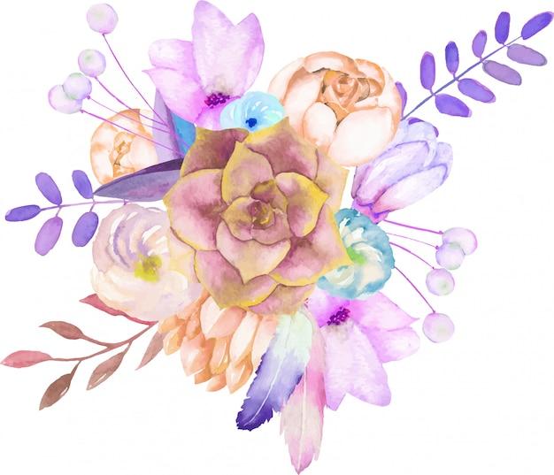 Blumenstrauß mit den aquarell sukkulenten und blumen Premium Vektoren