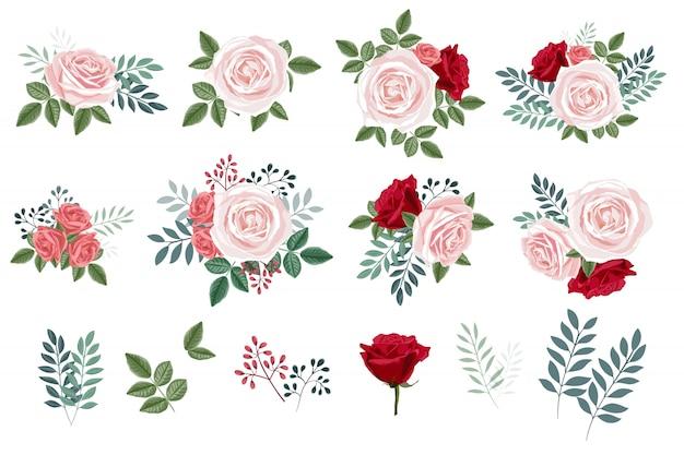 Blumenstrauß mit rosen und blättern, blumenmusterelementkollektion Premium Vektoren