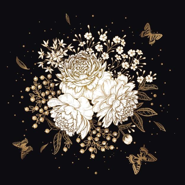 Blumenstrauß pfingstrosen und schmetterlinge. gold auf schwarzem hintergrund. Premium Vektoren