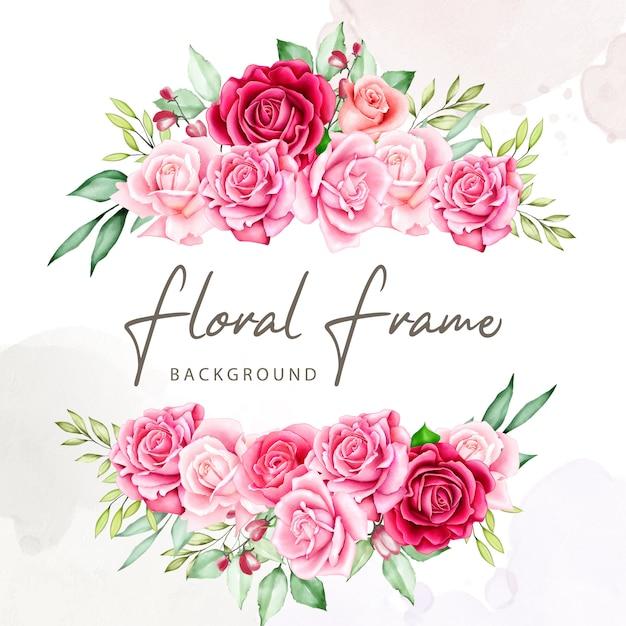 Blumenstrauß-rahmen-aquarell-sammlung Premium Vektoren