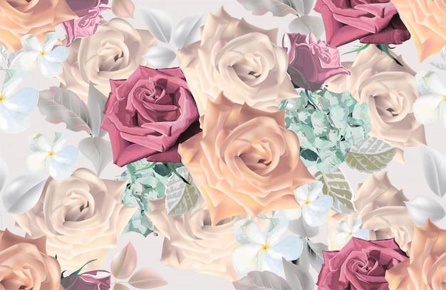 Blumenstrauß romantische stile Premium Vektoren