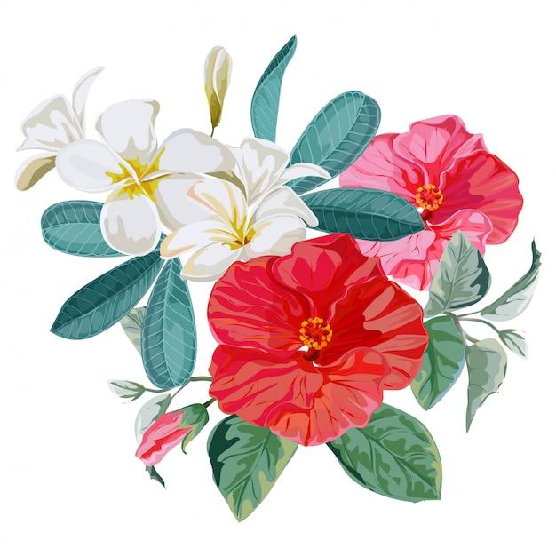 Blumenstrauß-vektorillustration Premium Vektoren