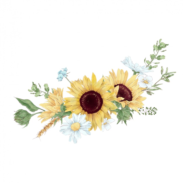 Blumenstrauß von sonnenblumen und wildblumen im digitalen aquarellstil Premium Vektoren