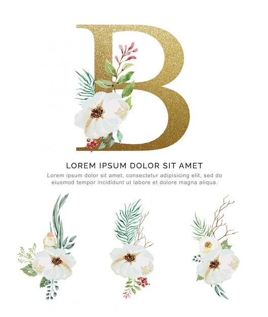 Blumenstraußblume des alphabets b und blattsammlungsaquarell. Premium Vektoren