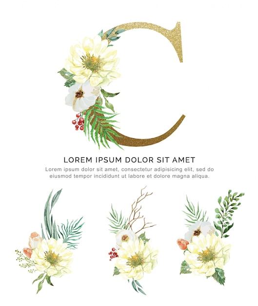 Blumenstraußblume des alphabets c und blattsammlungsaquarell. Premium Vektoren