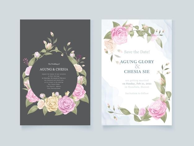 Blumenstraußhochzeitseinladungs-satzdesign Premium Vektoren