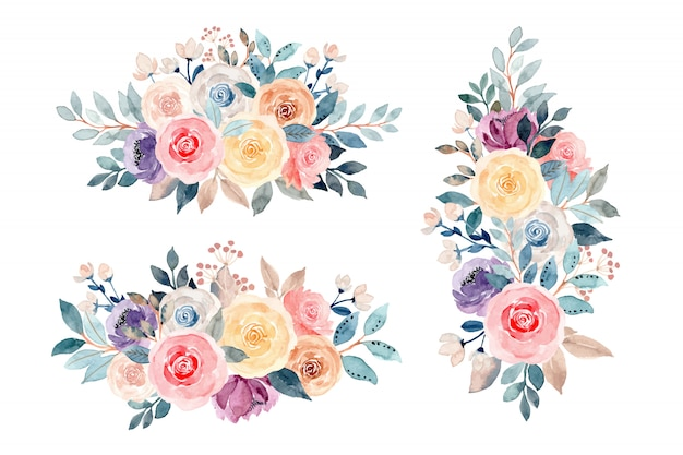 Blumenstraußkollektion mit aquarell Premium Vektoren