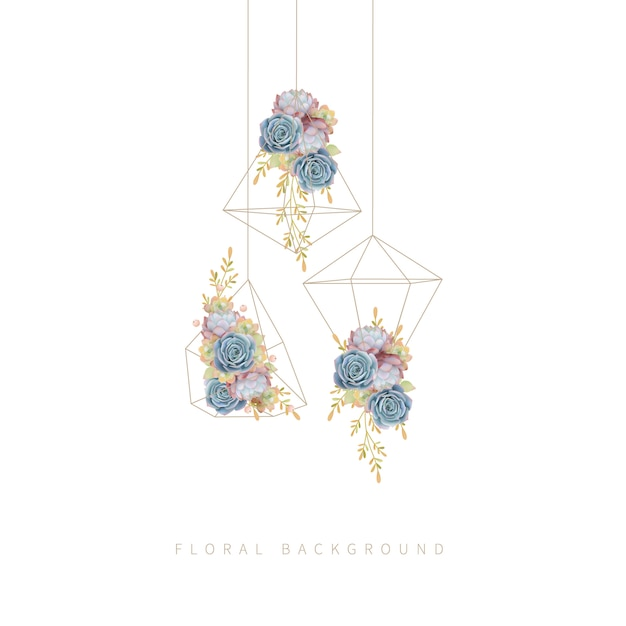 Blumensucculent im terrarium hängen Premium Vektoren