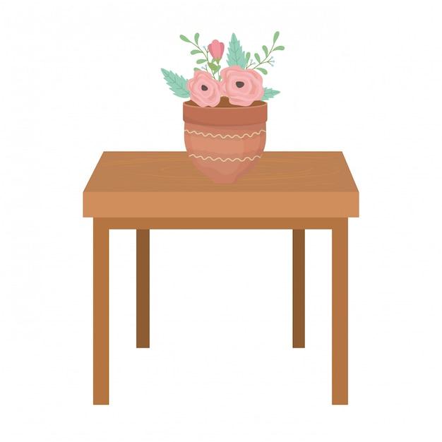 Blumentopf über tisch Premium Vektoren