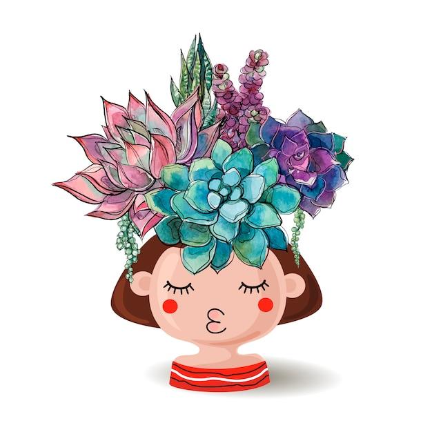 Blumentopfmädchen mit einem blumenstrauß von succulents. Premium Vektoren