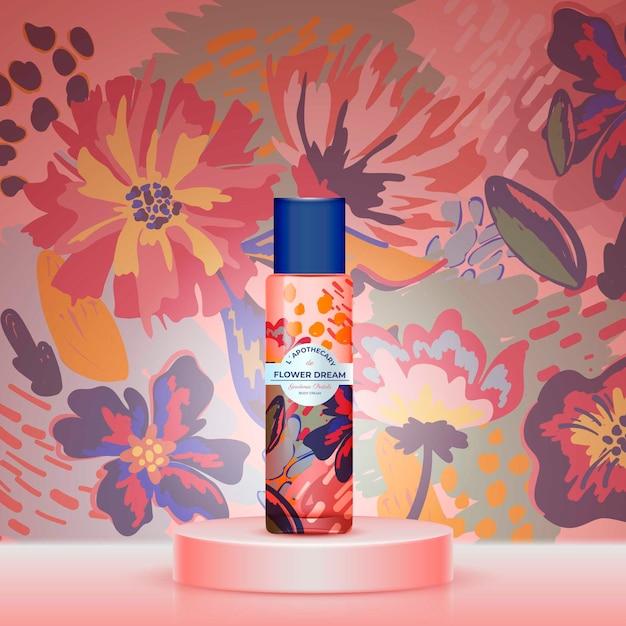 Blumentraumtee mit aquarell-design Kostenlosen Vektoren