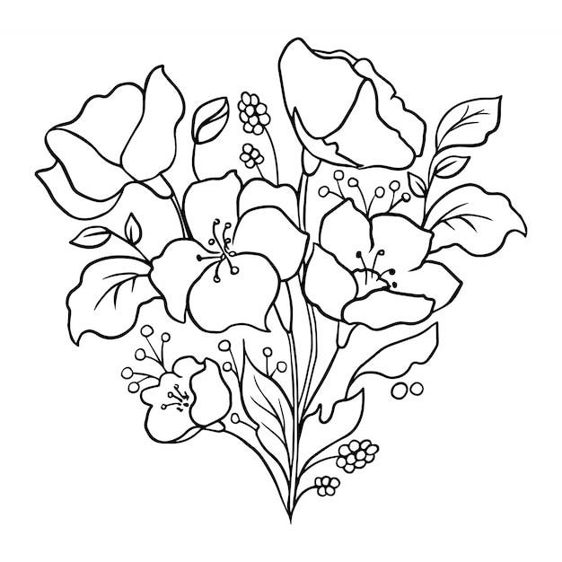 Blumenumriss. blumendesign. Premium Vektoren