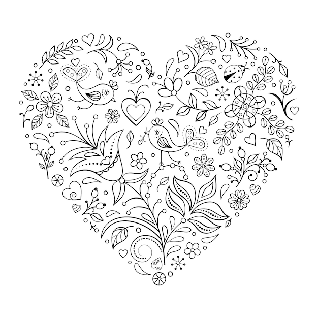 Blumenvalentinsgrußherz lokalisiert auf weißem hintergrund Premium Vektoren