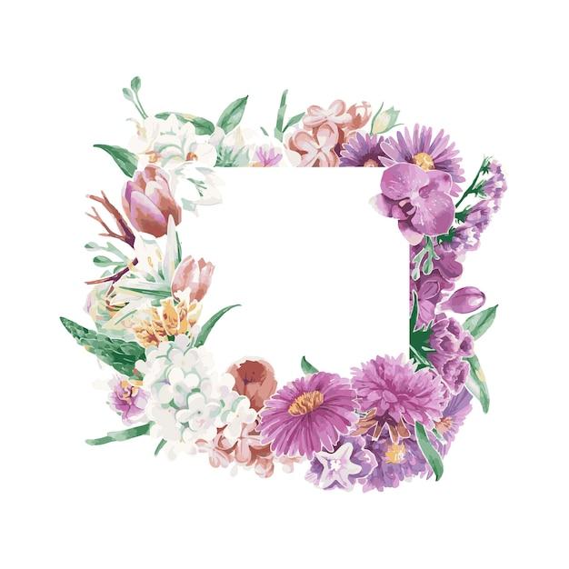 Blumenverzierungen der weinlese weatercolor Kostenlosen Vektoren