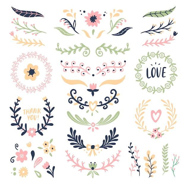 Blumenverzierungskranz. retro- blumenstrudelfahne, hochzeitskartenblumengirlandenrahmen und dekorative teiler lokalisierten satz Premium Vektoren