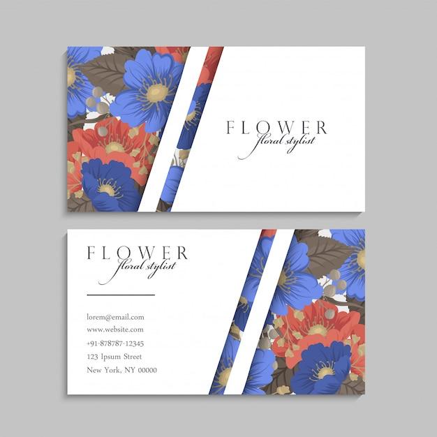 Blumenvisitenkarten blau und rot Kostenlosen Vektoren