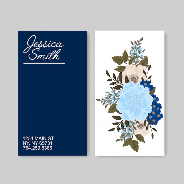 Blumenvisitenkarten blau Kostenlosen Vektoren