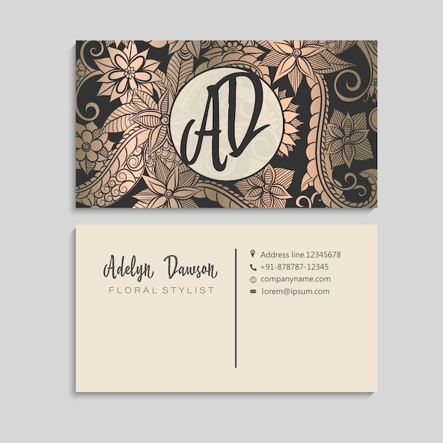 Blumenvisitenkarten gold und schwarzes Premium Vektoren