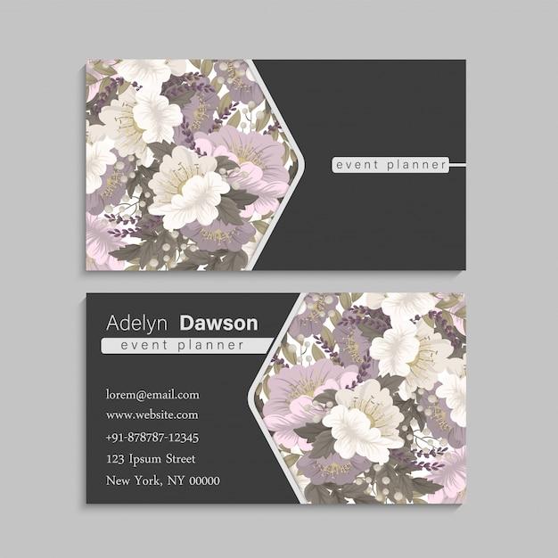 Blumenvisitenkarten rosa blumen Kostenlosen Vektoren