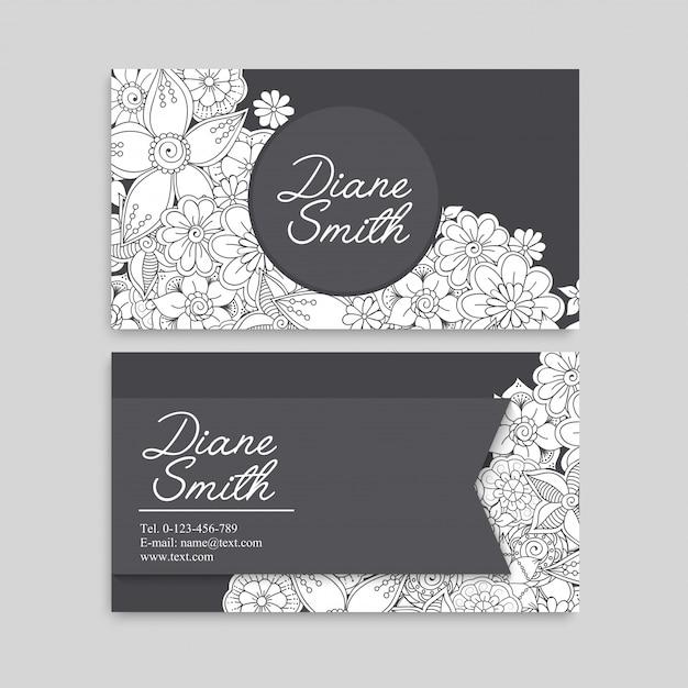 Blumenvisitenkarten weiß und schwarz Kostenlosen Vektoren