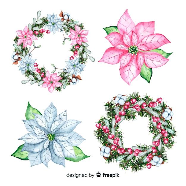 Blumenweihnachtskranz im aquarelldesign Kostenlosen Vektoren