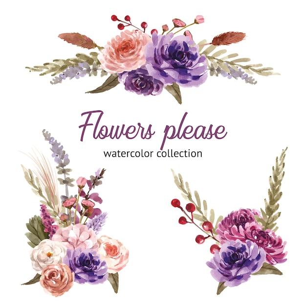 Blumenweinstrauß mit rose, pfingstrose, verlässt aquarellillustration. Kostenlosen Vektoren