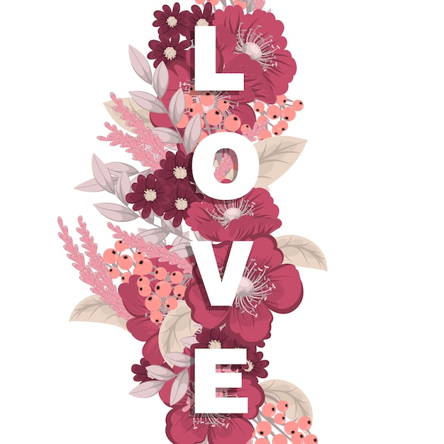 Blumenwort liebe (blumen, gras, blätter). blumenbuchstabe. Premium Vektoren
