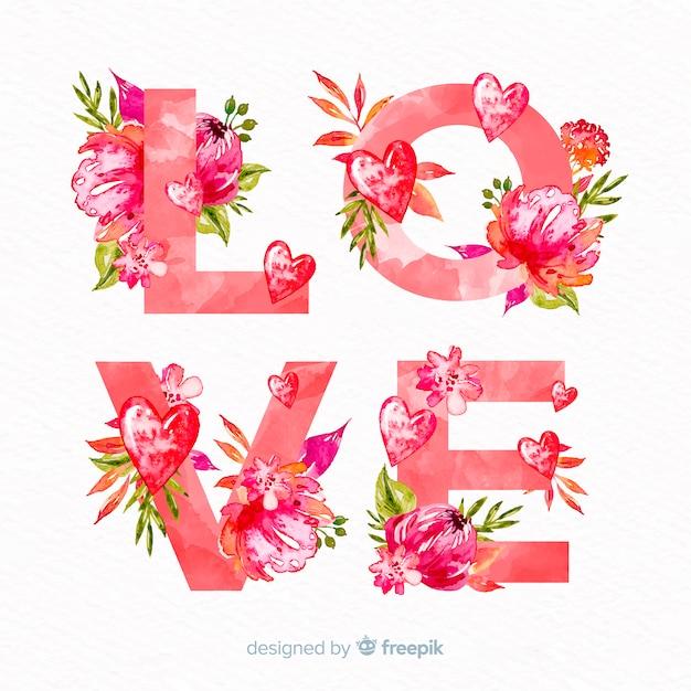 Blumenwort-valentinsgrußhintergrund Kostenlosen Vektoren